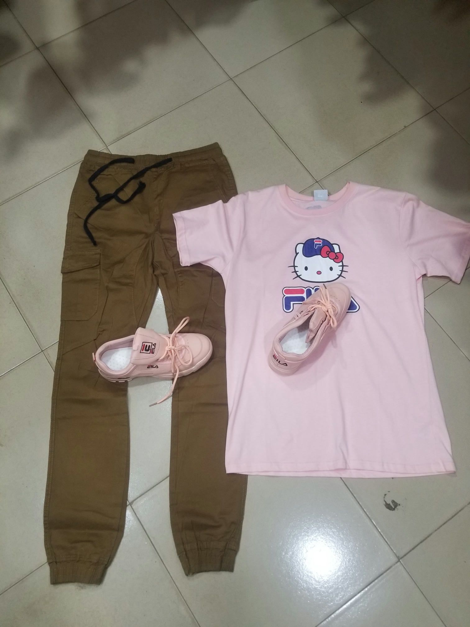 Track, T-shirt, and Sneaker